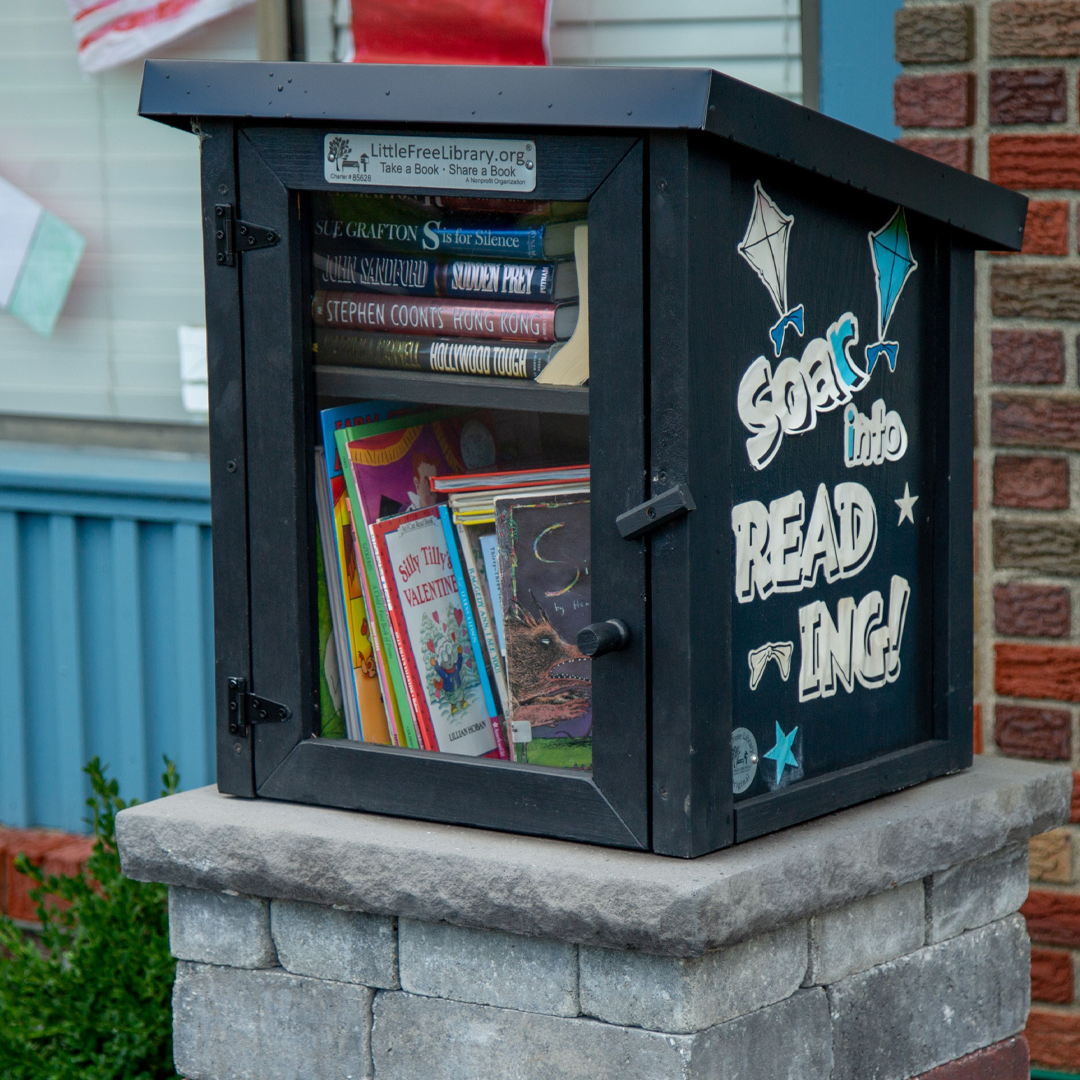 Book exchange in front of the building