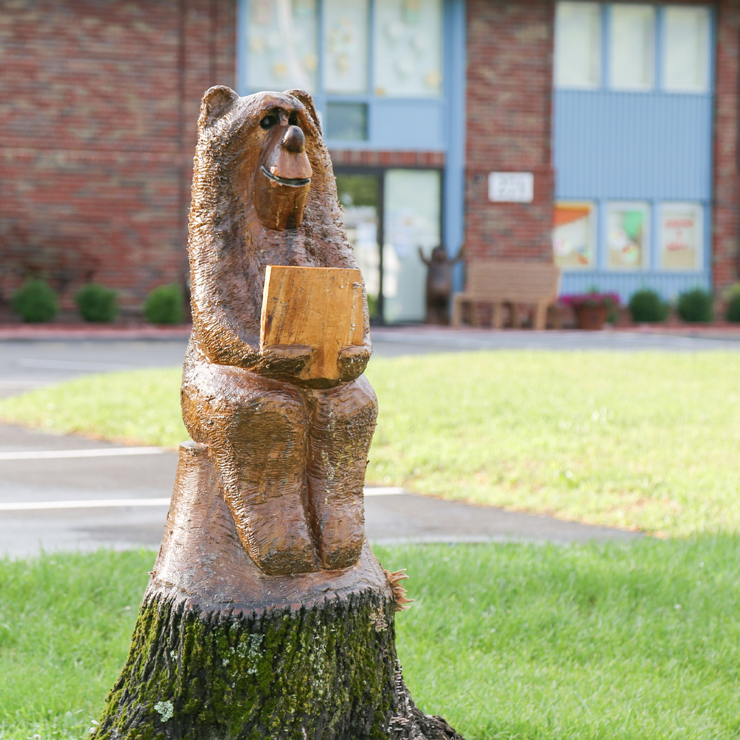 Wooden bear reading in front of the building