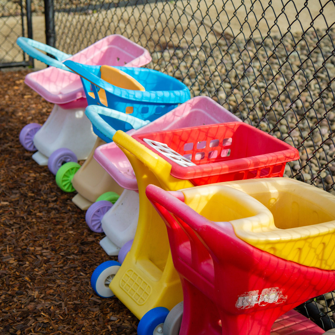 Shopping cart toys in the toddler playground