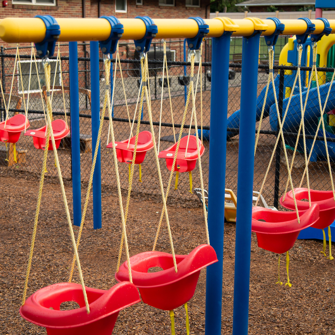 Swings in the Infant/Toddler Playground